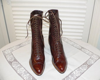 1900s Edwardian Brown Leather Tie Up  Boots NOS