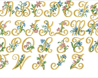 Cross Stitch Pattern PDF Modern Text Flowers Cross Stitch Pattern Alphabet Monogram Letter Cross Stitch Hand Embroidery Instant Download