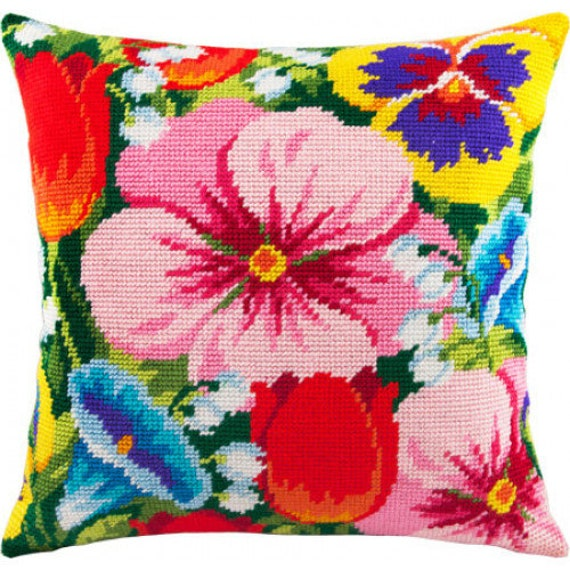 Modern Cross Stitch Pillow : Flowers Pillows Cross Stitch Kit Pillow embroidery kit DIY Cross Stitch Pattern Modern Cross ...