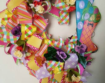 Spring Wreath, Spring Grapevine Wreath, Grapevine Wreath, Funky Bow Wreath, Summer Wreath, Door Decor, Spring Decor, Summer Decor
