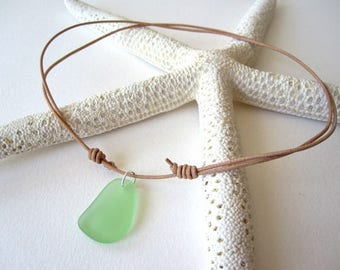 Sea Glass and Leather Necklace, Beach Glass Necklace, Sea Glass Necklace, Leather and Sea Glass Jewelry, Leather Necklace Choker