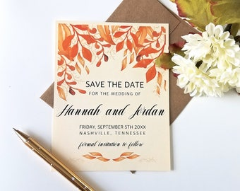 Save the date cards, wedding save the date, fall wedding, wedding cards, wedding announcement cards, autumn wedding cards - set of 10(sd1)