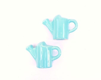 Vintage Watering Can Salt and Pepper Shakers, Turquoise Blue      Ceramic Table Condiment Holders, Gardener Gift