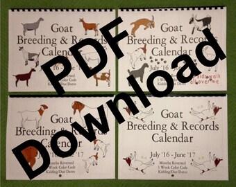KIDS WALK  - PDF file - Goat Breeding and Records Calendar - Jan-Dec2017