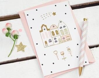 Carte postale qui brille - Magic Amsterdam - Illustration / Doré - Dorure / Printemps- Pastel -Étoile filante-Maisons/Tulipes-Fleurs-Fleuri