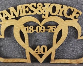Wooden Handmade Entwined Heart personalised wedding anniversary Gift anniversary choice of woods custom made