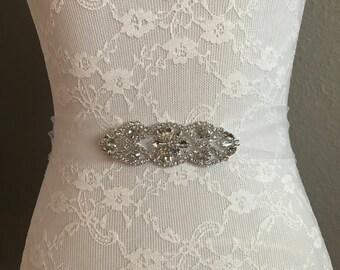White sash, Flower girl sash, childrens sash, wedding sash, rhinestone sash, dress sash