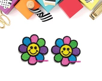 Set 2pcs. Happy Smiley Face Daisy Flower Rainbow Color New Sew / Iron On Patch Embroidered Applique Size 4.4cm.x4.5cm.