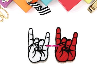 Set 2 pcs. White & Red Rock and Roll Hand Sign New Sew / Iron On Patch Embroidered Applique Size 2.5cm.x4cm.
