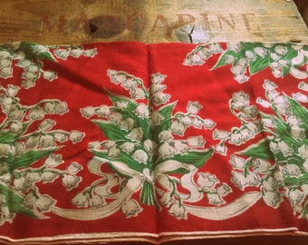 Vintage 1940's Lily of the Valley Flower red,green,white Hankie Hankerchief