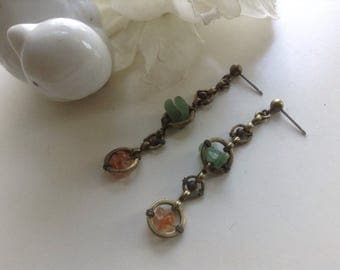 Brass and Stone Chip Dangling Earrings Pierced Studs Gemstones Vintage Multicolored Clasp Ethnic Boho Hipster Retro Organic Gift