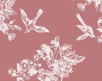 1 Yard BOLT Girl Charlee Homestead Life Bluebird Garden Cotton Spandex Knit Fabric