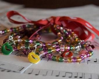 Elastic Mardi Gras Variation (5) Romantic Bracelets V07