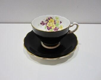 Vintage Black Cup and Saucer - Floral Bone China Straffordshire