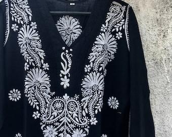 Hand embroidered long black women's kurta • chikankari • hand embroidered • black kurta • Indian kurta • resortwear