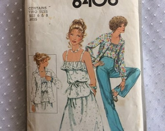 1977 Simplicity pattern 8406, Sizes 6 & 8, Misses shirt-jacket, pants, skirt, and top