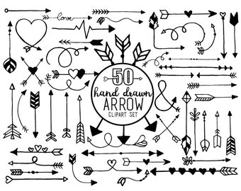 Arrow Doodle - Clipart & Vector Set - Instant Download - Personal and Commercial Use - Love