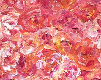 """Bed of Roses, """"4x""""4 Stretched Canvas Block, Acrylic Painting, Original Artwork"""