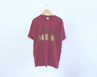 90's mgm graphic t shirt, size large, maroon, box cut, made in usa