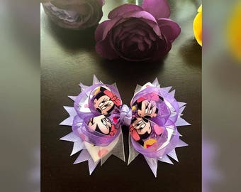 5 inch Minnie Mouse stacked Hair Bow