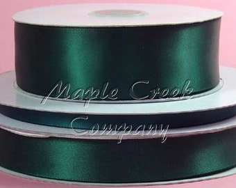 1/4 inch x 100 yards of Hunter Green Double Face Satin Ribbon