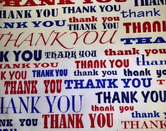 Fabric with thank you words