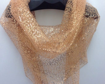 Gold lace scarf, Large Wedding Shawl, Sparkly Lace Scarf, Summer Wedding cover up Copper Shawl, Outdoor shawl for Destination Wedding