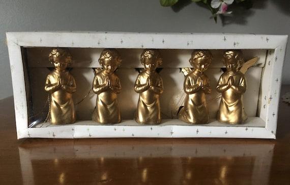 Vintage Shiny Brite Boxed Set of 5 Christmas Angels Tree Ornaments Hong Kong Gold Color