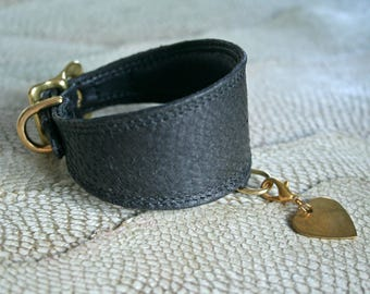 NEW! 4 Cm Wide Genuine leather italian Greyhound / Iggy collar hand made