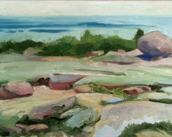 """Plein Air painting, """"Acadia, From the Mount"""" Landscape study from Acadia National Park, Maine."""