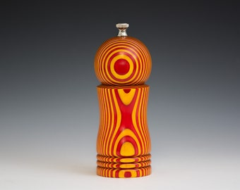 """Colorful, Handmade 6"""" Peppermill - Laminated brilliant yellow and red"""