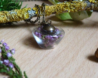Heather Necklace.Miniature Terrarium.Woodland.Real Dried Flowers.Bronze/Silver Necklace.Nickel and Lead Free.Small Glass Vial.Miniature.