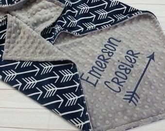Personalized Baby Blanket, Minky Baby Blanket, Navy Arrow Baby Blanket, Boy Baby Blanket, Boy Minky Blanket, Stroller Blanket