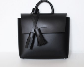 TASSEL LEATHER BAG, Unique Minimalist, Simple, Handmade, black, Gift for Her, Personalization, Leather bag, minimalism