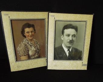 Tinted & Black White Photograph - 1940's Portraits Framed Man Woman 13 3/4 x 10 1/2 - Chicago Dudas Studio - Vintage Photo Picture