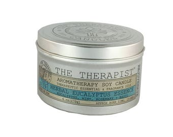 Scented Soy Candle < No. 09 Herbal Eucalyptus Essence >- Hand Poured - Highly Fragrant - 6 oz - Tin Can