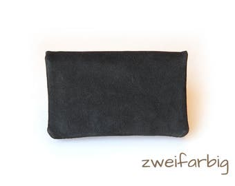 Tobacco pouch made of nubuck and nappa leather