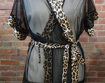 VINTAGE Lingerie - Nite Images II Sheer Black Leopard Trim Robe w/Belt - Womens 1X ?