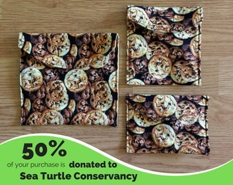 Cookies Set of 3 Reusable Snack Bags with PUL Fabric