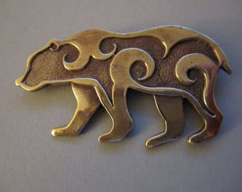 Large Bear Brooch or Pendant in Bronze