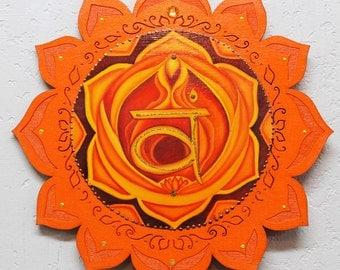 2nd Chakra. Sacral chakra, Svadishthana, chakra mandala, Orange Chakra, healing art,lotus wall hanging, meditation art, yoga plaque