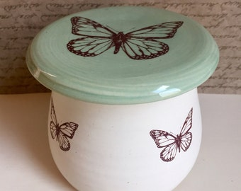 Monarch butter crock. Butterfly french butter keeper. European butter jar. Stoneware. 4in high. Keeps butter spreadable. Handmade in USA.