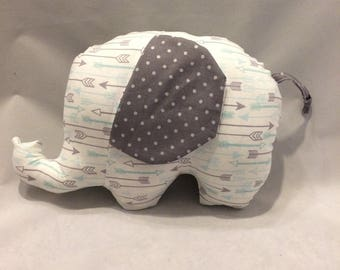 Grey arrow/polka dot stuffed elephant/nursery decor