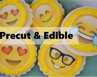 Emoji Cookie Topper, emoji wafer paper,  precut & edible,  wafer paper topper,