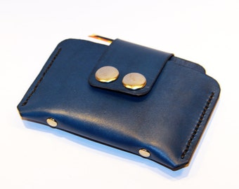 Leather Credit Card Wallet,Blue Leather Purse, Leather Card Case, Tiny Wallet, Small Wallet, Great Gift! SALE