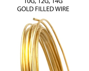 14K Gold Filled Soft Round Wire 10 Gauge / 12 Gauge / 14 Gauge
