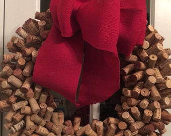 Wreath, Cork Wreath, Wine Cork Wreath, Wall Decor, Red Burlap Ribbon