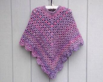 Crocheted shawl - Crochet poncho - Teens poncho - Retro style poncho -  Teens crochet shawl - Womens shawl