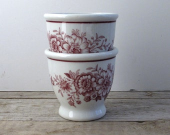 Two Vintage Burgundy on White Restaurant Ware Cups Carr China