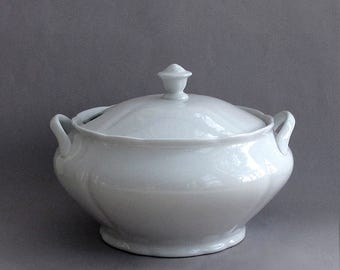 Midcentury White Ironstone Soup Tureen With Cover